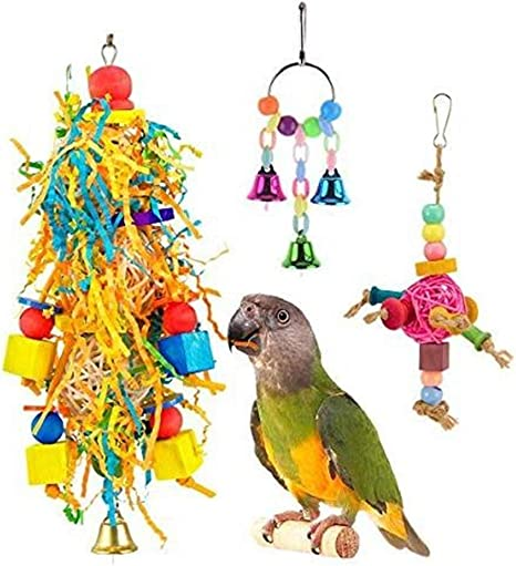 Hpybest 3 Piezas de Juguete para pájaros, Loro, Vino, Escalera de Cuerda de posición con Cuentas de Juguete Trenzado Agapornis Vogel Papegaaien Speelgoed Toy: Amazon.es: Productos para mascotas