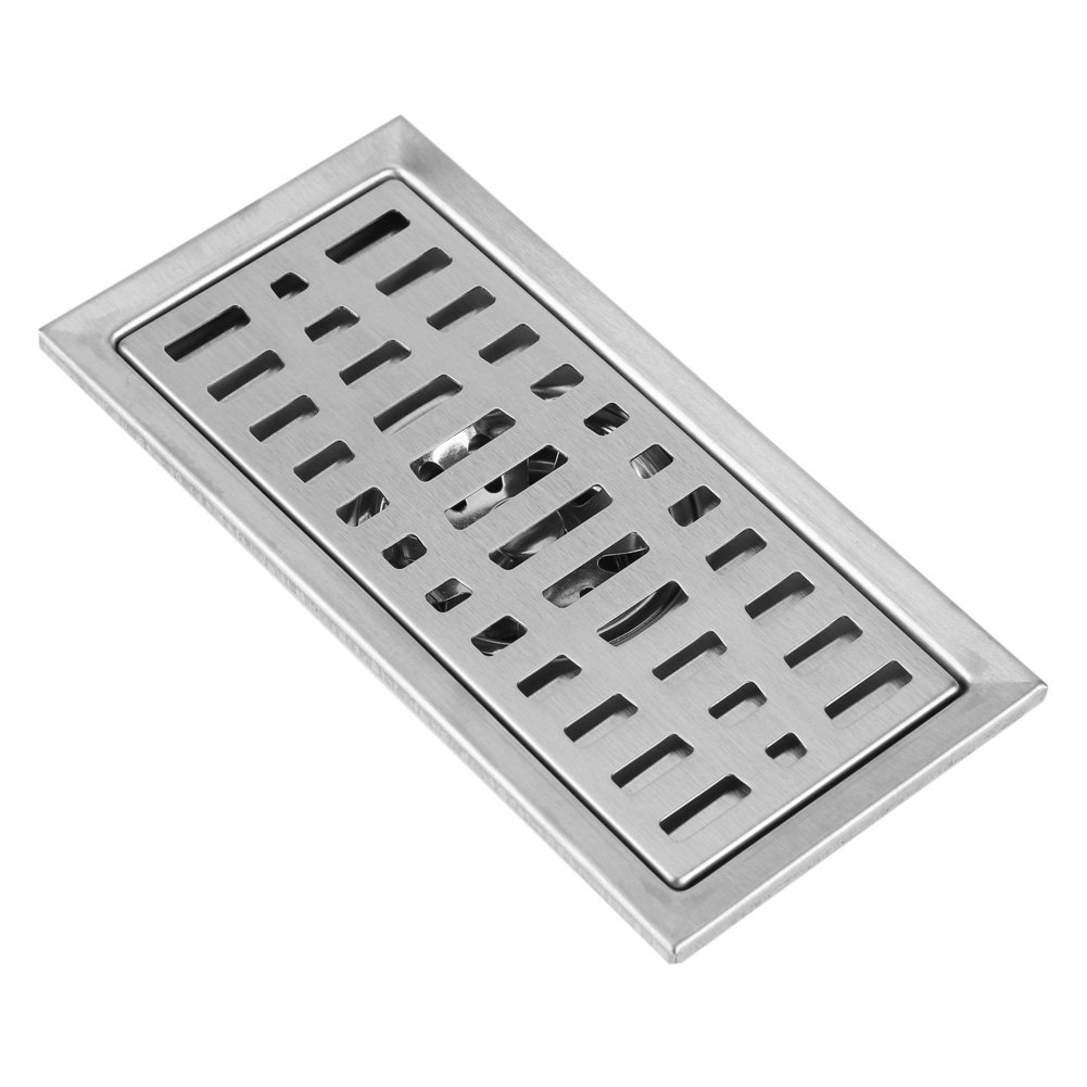 Garage and Basement GLOGLOW 20x10cm Rectangle Stainless Steel Floor Drain Bathroom Shower Tile Insert Floor Waste Grate Anti-clogging with Removable Cover for Kitchen Washroom
