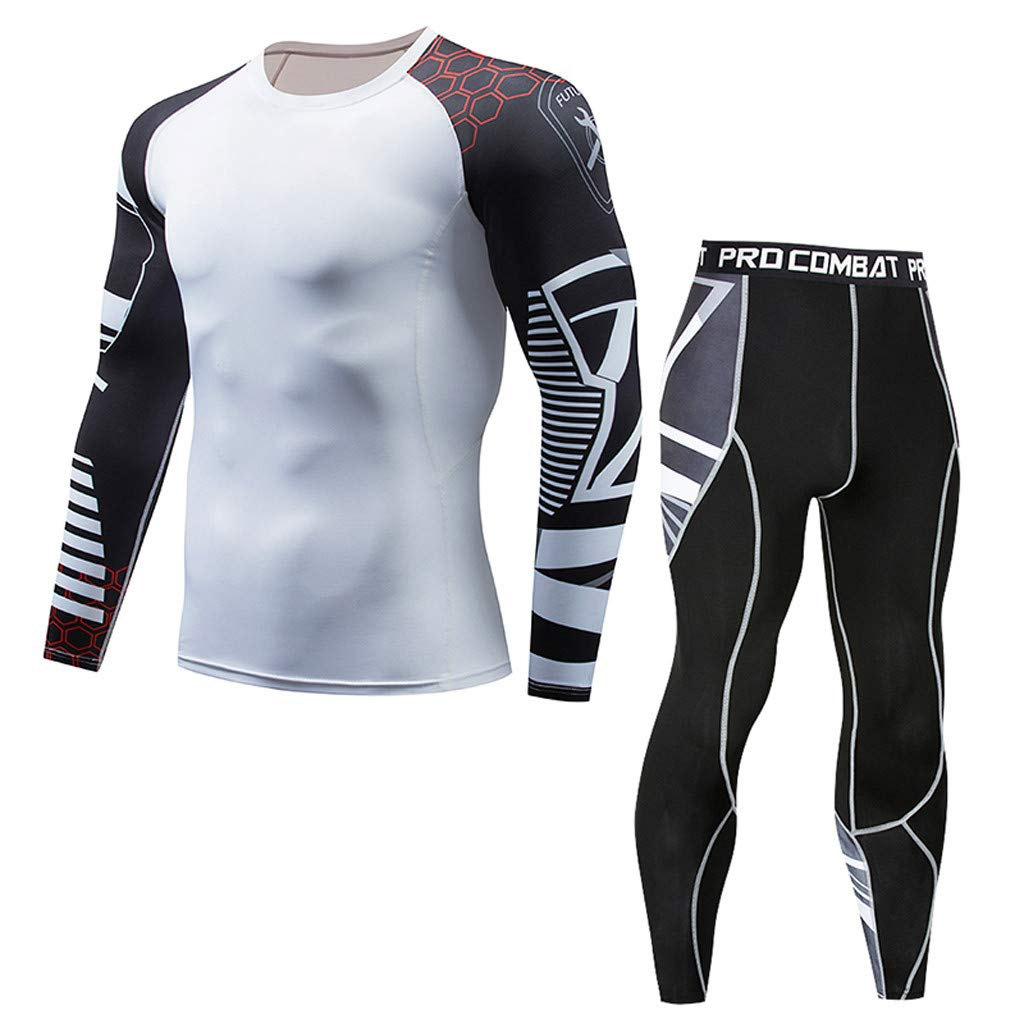Mens Casual Fitness T-Shirt Fast Drying Elastic Tops Pants Sports Tight Suit Palarn Mens Fashion Sports Shirts