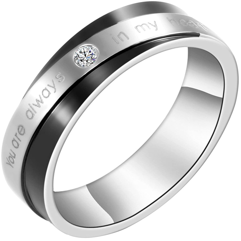 Freundschaftsringe edelstahl schwarz  JewelryWe Schmuck 1 Paar Edelstahl Partnerringe,