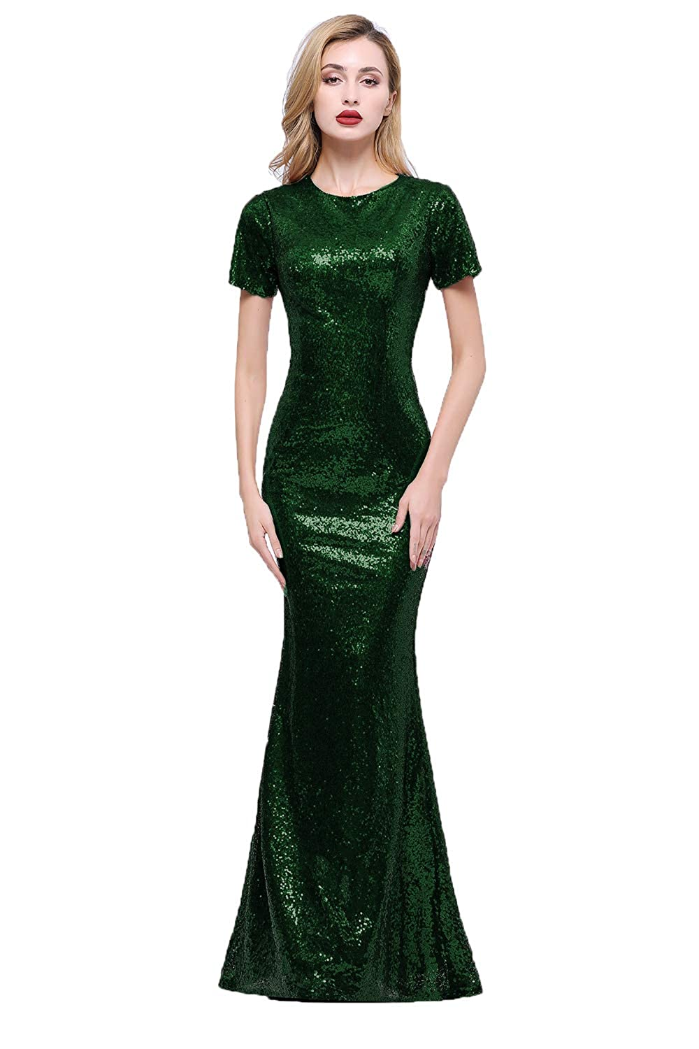 Hunter Green Honey Qiao Short Sleeves Bridesmaid Dresses Long High Back Evening Party Gowns