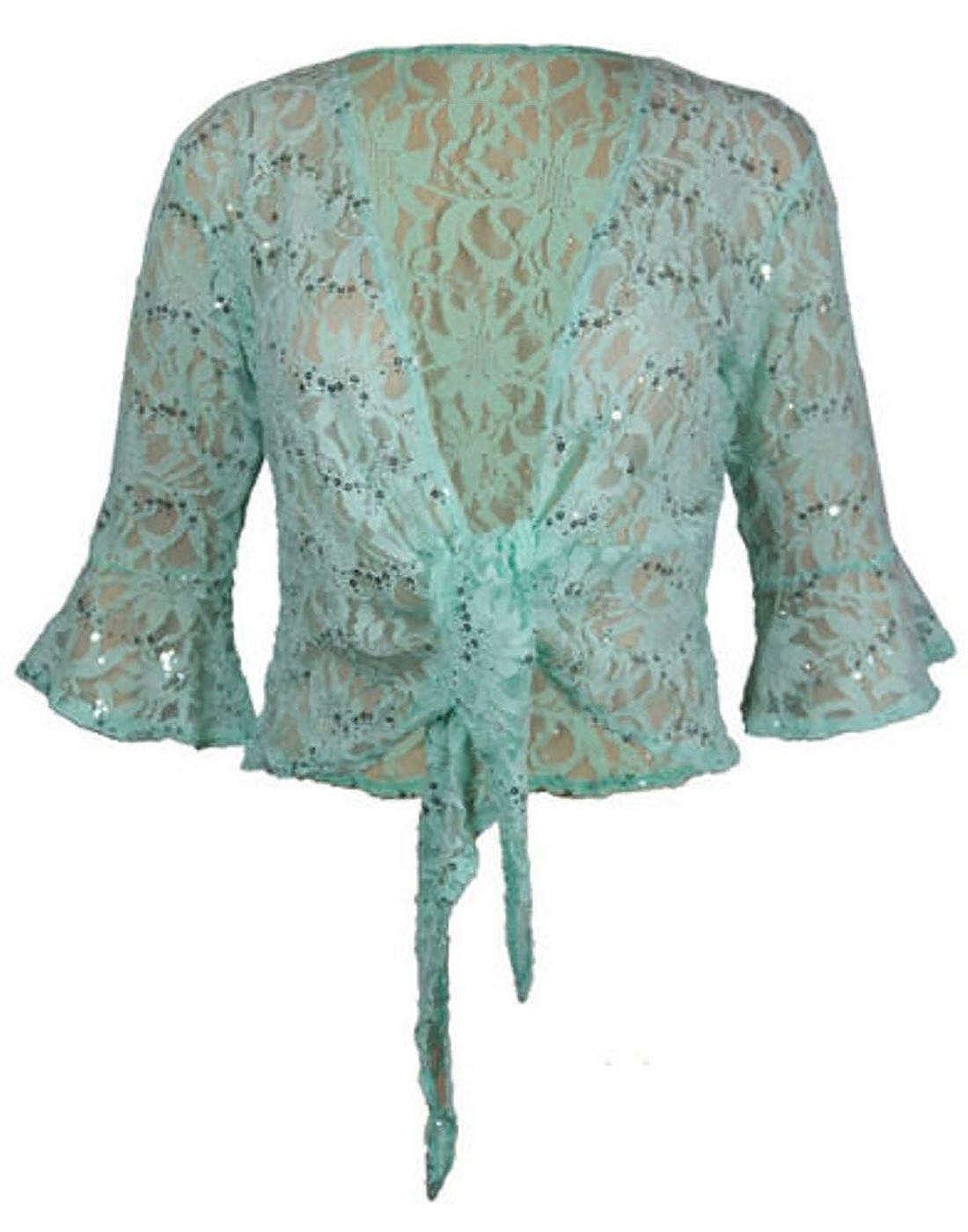 21FASHION Fancy 3//4 Sleeve Sequin Bolero Shrug Cardigan