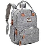 Diaper Bag Backpack, RUVALINO Multifunction Travel Back Pack Maternity Baby Nappy Changing Bags, Large Capacity, Waterproof and Stylish, Gray: more info