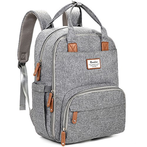Easy Access Back Pocket - Diaper Bag Backpack, RUVALINO Large Multifunction Travel Back Pack Maternity Baby Nappy Changing Bags, Large Capacity, Waterproof and Stylish, Gray