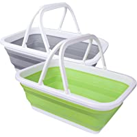 Playinyard Collapsible Camping Sink 2 Pack, 9L/15L/16L Extra Large Lightweight Portable Foldable Dish Washing Basin/Tub…