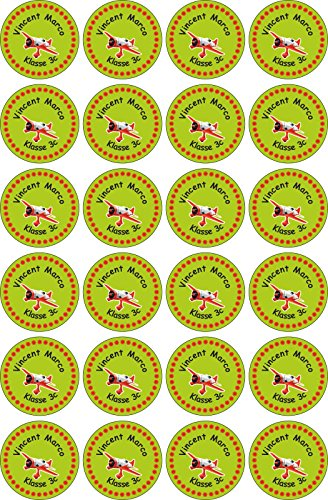 INDIGOS UG Name Sticker / Sticker - 30x30 mm - 056 - airplane - Set of 24 stickers individually labeled - for school, office, home - pens, notebooks, pencils, folders