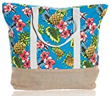"Beach Bag By Pier 17 - Tote Bag For The Beach, Roomy 20''x18''x6"", Zipper Closure (Pineaple 2)"