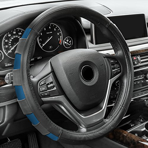 FH Group FH2005BLUE Steering Wheel Cover (Genuine Leather Sport Blue)
