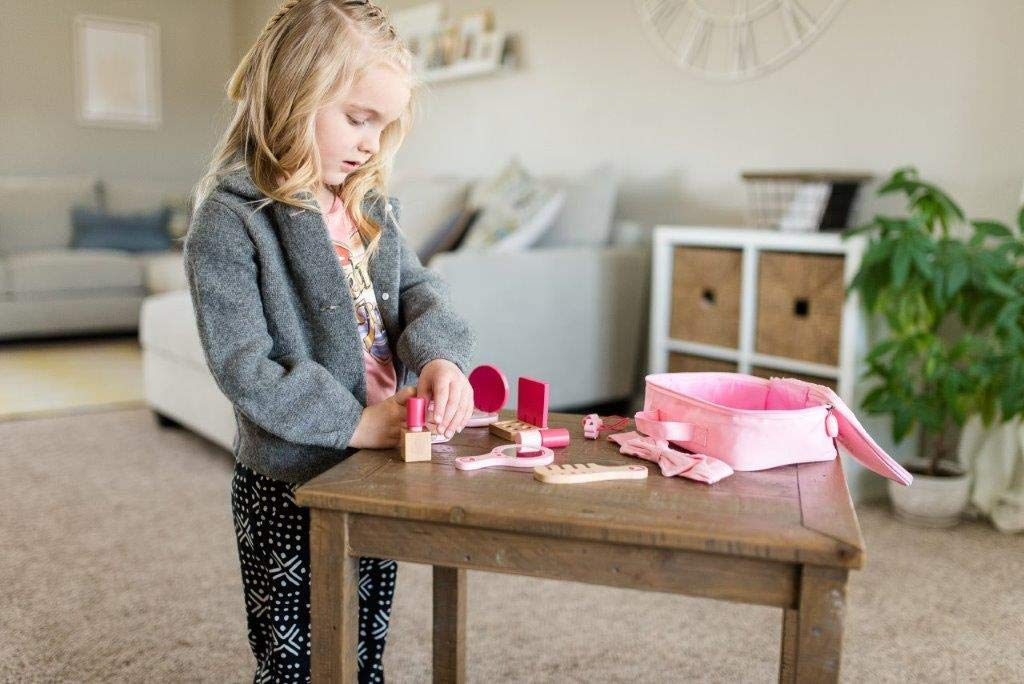 Little Adventures Little Beauty Salon Beautician Wooden Toy Set with Carrying Case Pink by Little Adventures (Image #9)