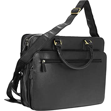 4601c2574 Amazon.com | R & R Collections Genuine Leather Briefcase With Zip Around  Pocket (Black) | Briefcases