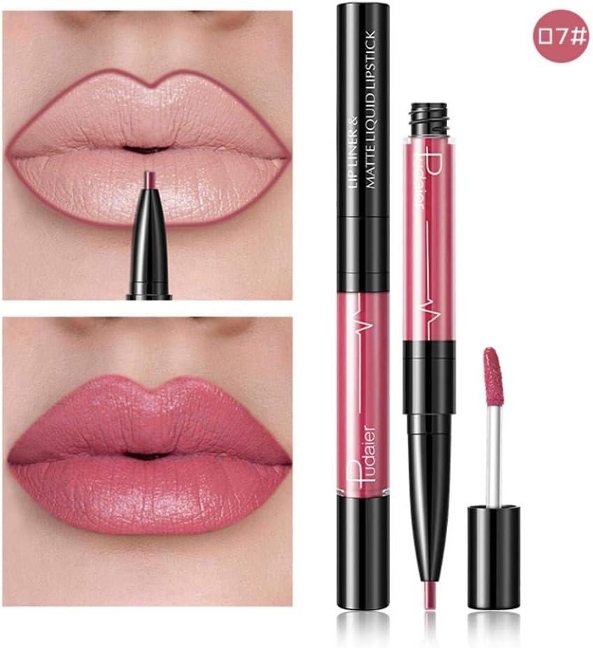 Gaddrt Lápiz delineador de labios impermeable de larga duración de 16 colores con doble extremo (G)