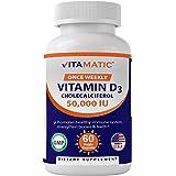 Vitamatic Vitamin D3 50,000 IU (as Cholecalciferol), Once Weekly Dose, 1250 mcg, 60 Veggie Capsules 1 Year Supply, Progressiv