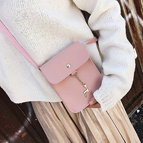 Bag Cosmetic for Wallet Across Lady Bag Women's Handbags Body Wicemoon Bag Shoulder Pink Leather Bag Body Cross Tassel Women PU Storage z6w7fTO