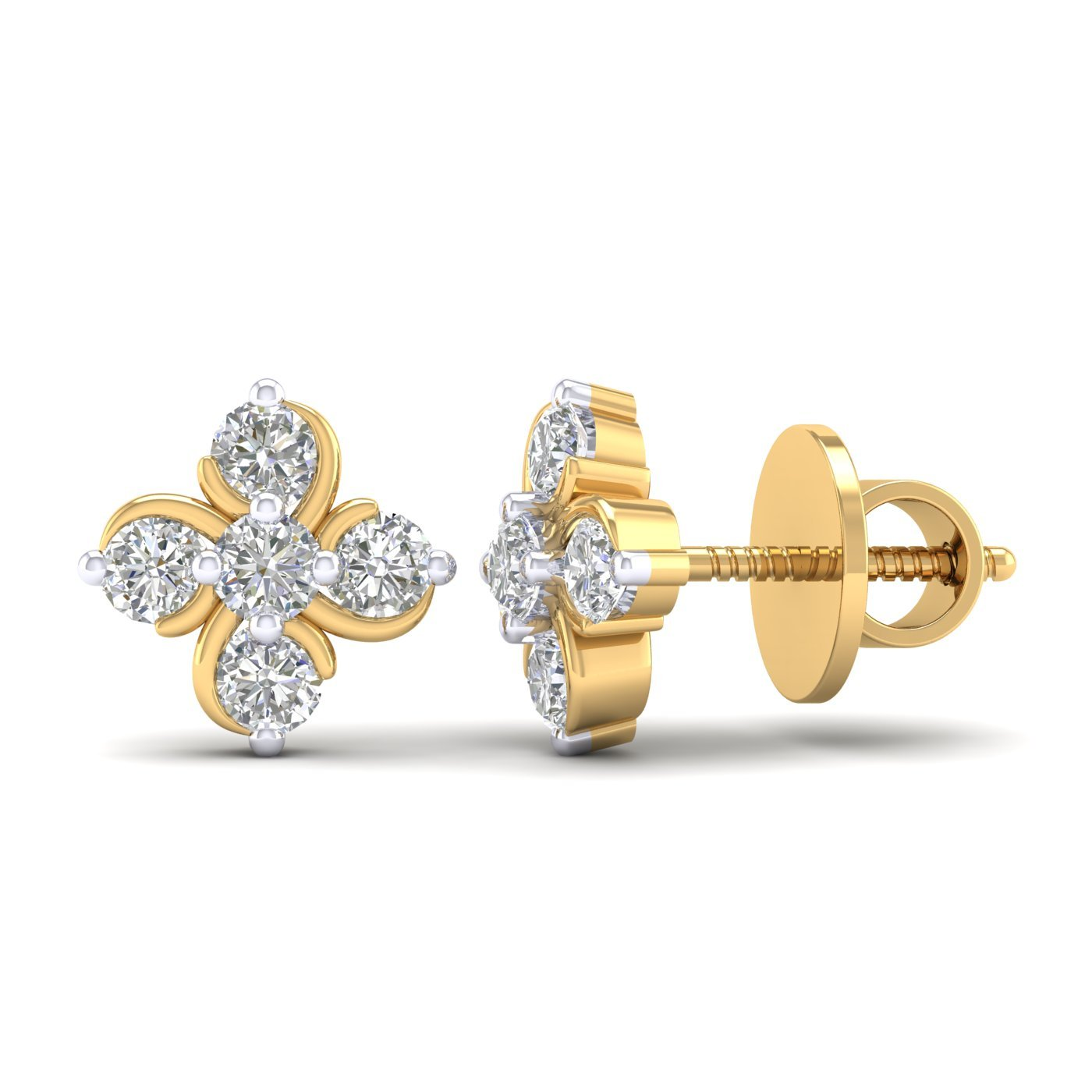 14K Yellow Gold Plated Round AAA Cubic Zirconia Flower Cluster Mini Stud Earrings Summer Sale