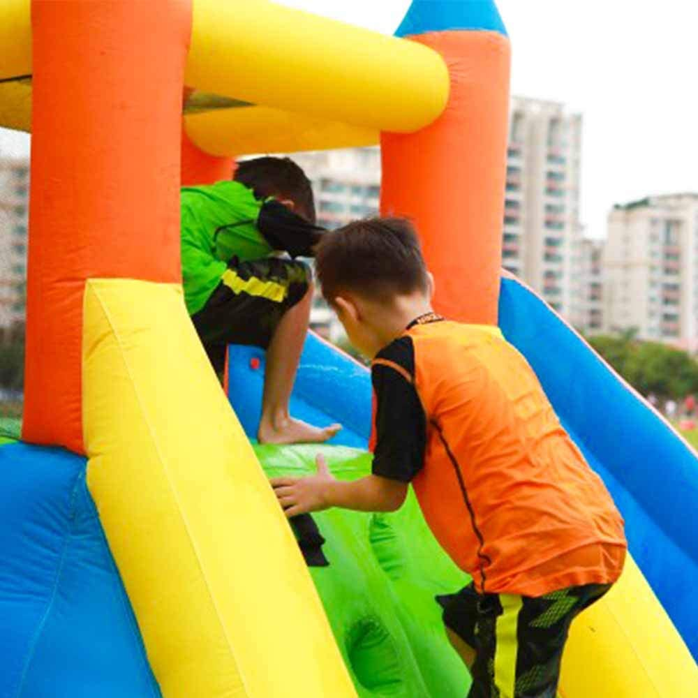 Doctor Dolphin Inflatable Water Slide with Bounce House Water Park for Kids Outdoor Party with Air Blower for