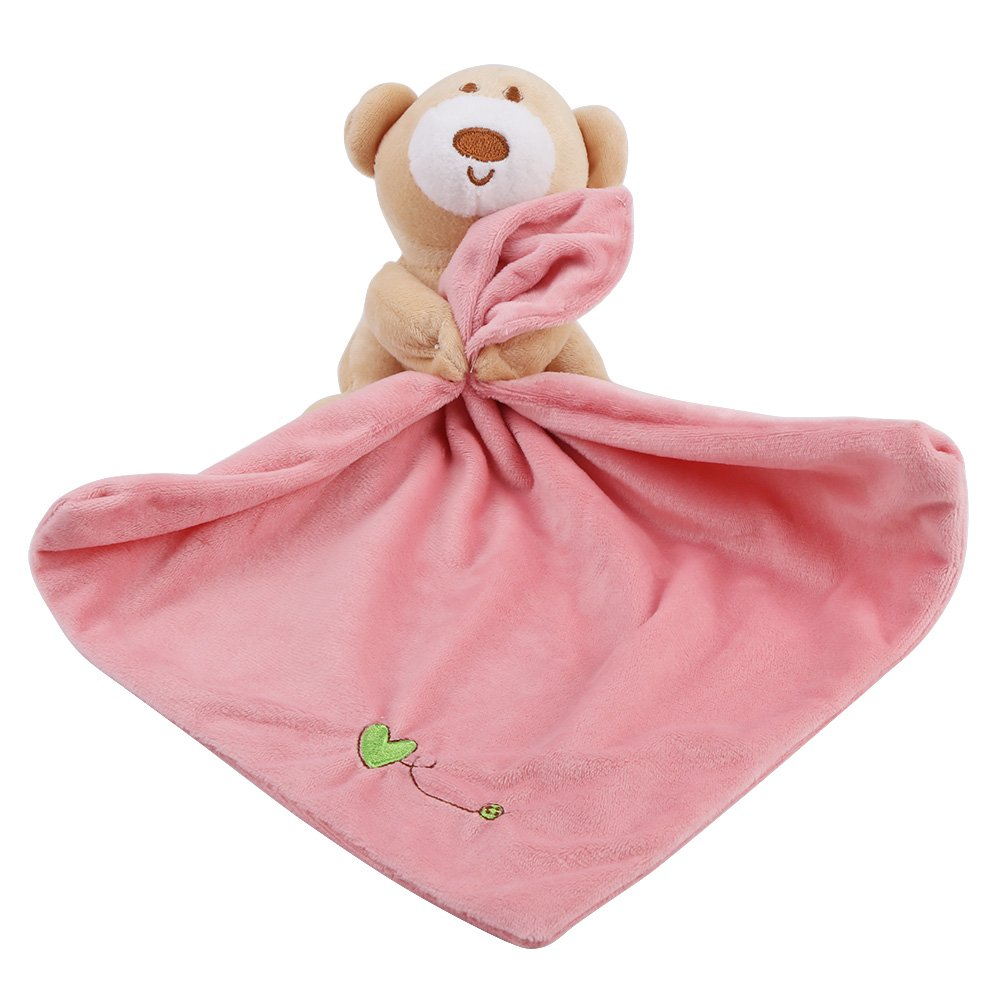 Soft Plush Baby Blanket Lovely Bear Plush Soother Security Blanket Soft Baby Kids Toy Newborn Gift (Pink) huhushop
