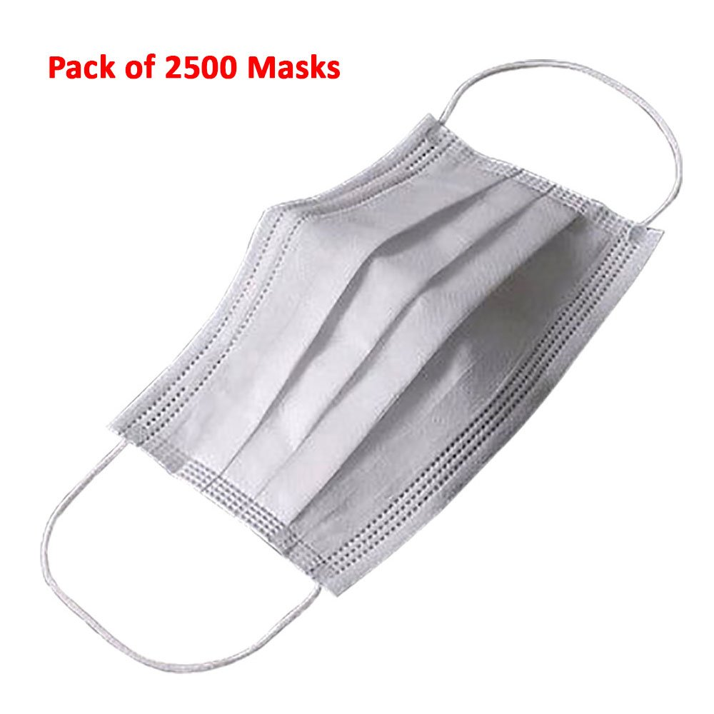 (Pack of 2500) Extra Soft Disposable Face Mask 3 Ply Earloop Medical Dental Surgical Hypoallergenic High Quality White