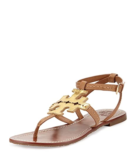 75b2630ae143e0 Tory Burch Chandler Phoebe Logo Flat Thong Sandal Royal Tan 9.5  Amazon.ca   Shoes   Handbags