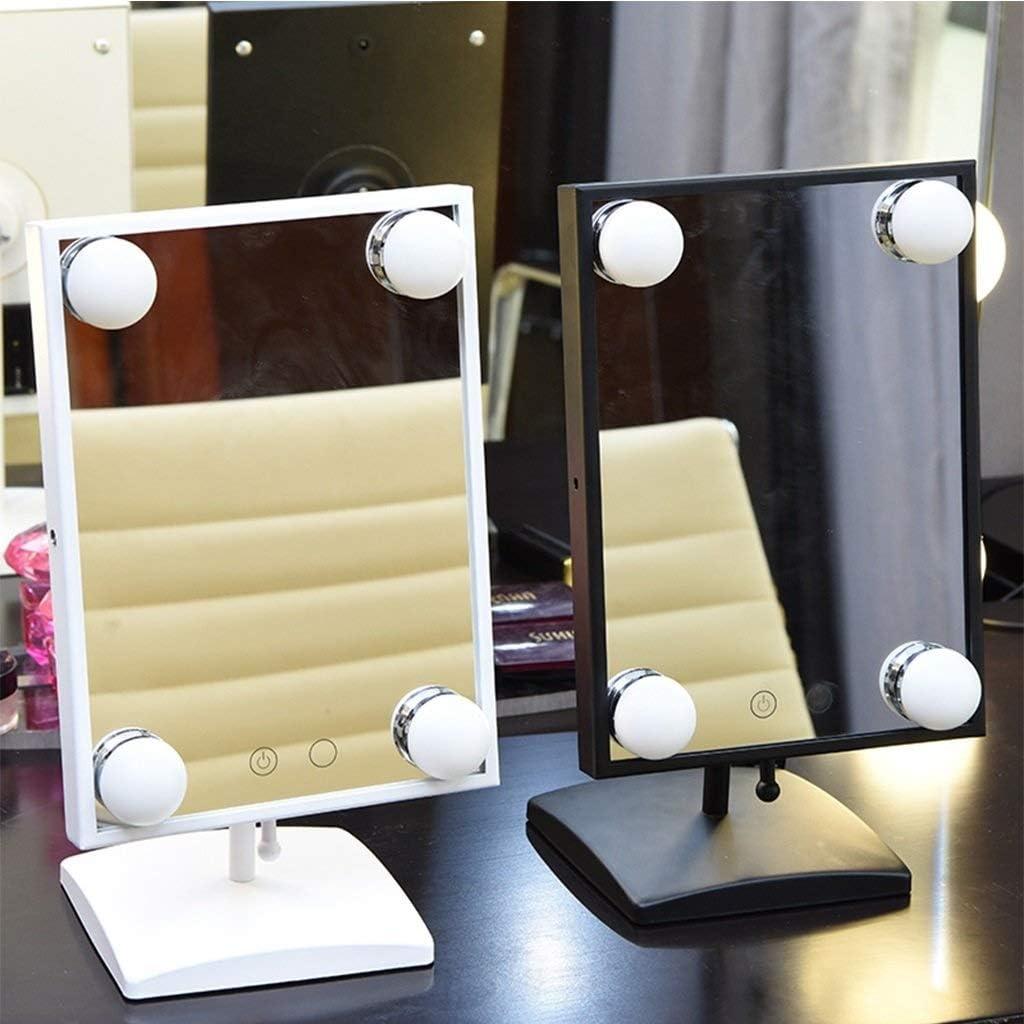 LDJ Desktop Mini make-up spiegel draagbare LED Met Licht Single-sided Folding Dimbare Plein Mirror Vloerspiegel (Color : Black) White