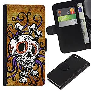 ZCell / Apple Iphone 6 / Skull Octopus Floral Gold Purple / Caso Shell Armor Funda Case Cover Wallet / Cráneo pulpo floral oro pú