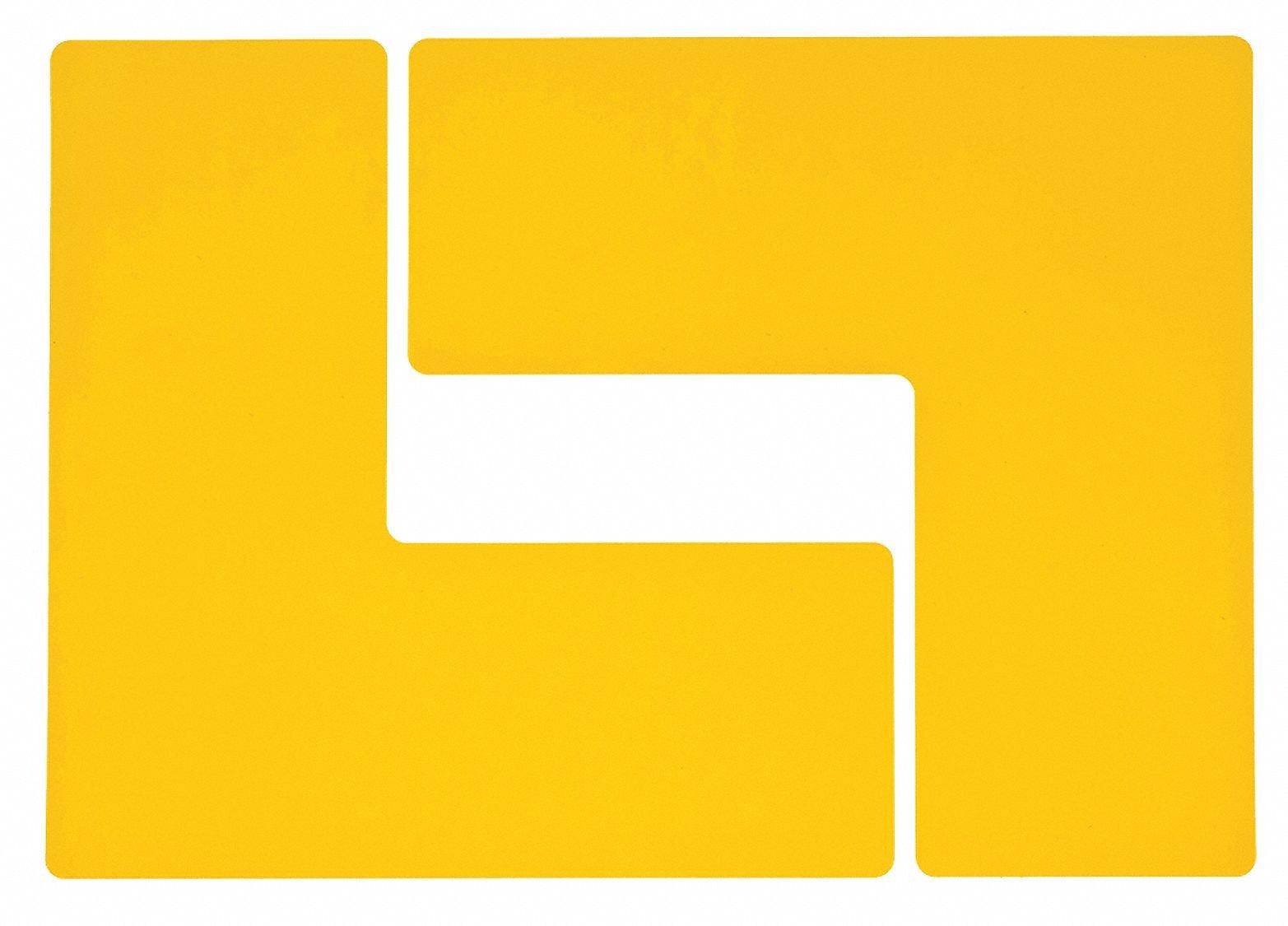 Brady ToughStripe Nonabrasive  L Shape Floor Marking Tape, 10'' Length, 4'' Width, Yellow (Pack of 20 per Roll)