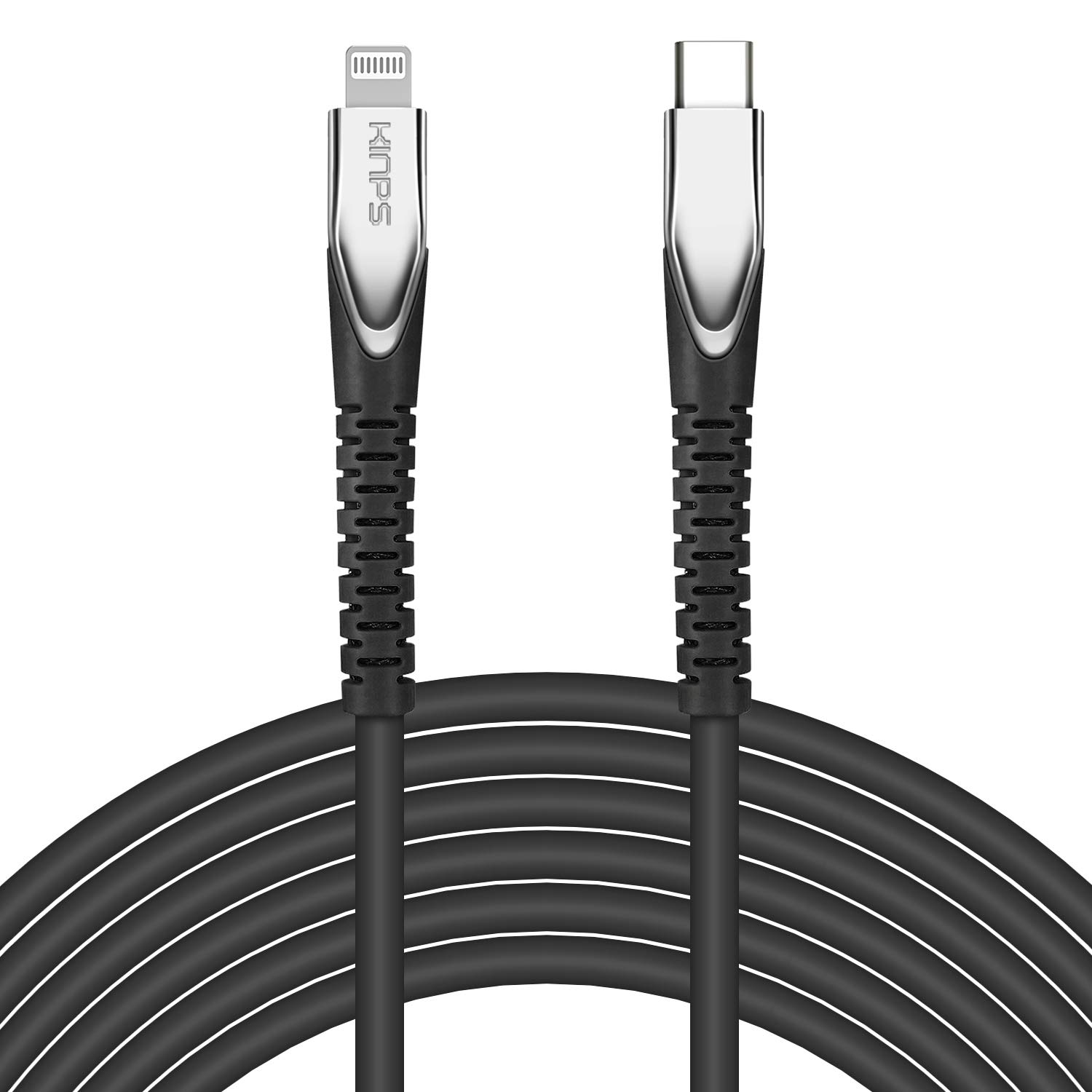 KINPS [MFI Certified 10ft] USB C to Lightning Fast Charging Cable Compatible with iPhone 12/11/11Pro/11 Pro Max/XS MAX/X/XR, Supports Power Delivery(for Use with Type C Chargers), Black