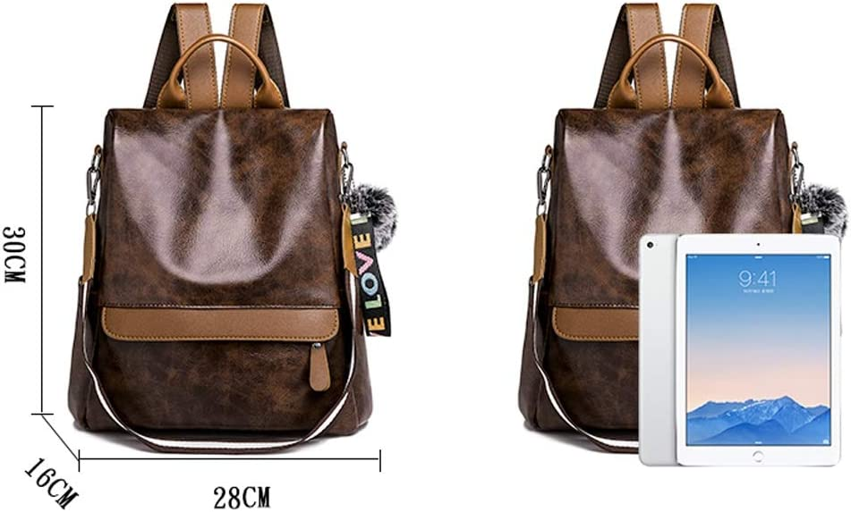 Haoyushangmao The Girls Versatile Backpack is Perfect for Everyday Travel School Travel Two Colors Fashion and Leisure Outdoor Practical and Stylish. Work Color : Brown, Size : 28cm30cm16cm