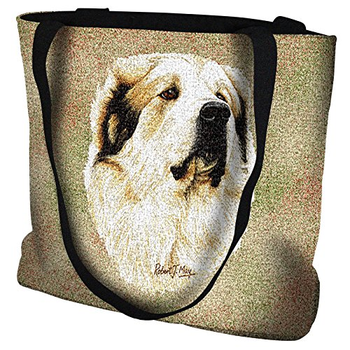 Great Pyrenees Hand Finished Large Woven Tote Bag Cotton USA by Artisan Textile Mill Pure Country ()
