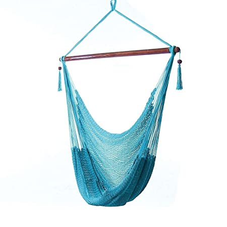 Sunnydaze Hanging Rope Hammock Chair Swing, Extra Large Caribbean, Sky Blue – for Indoor or Outdoor Patio, Yard, Porch, and Bedroom