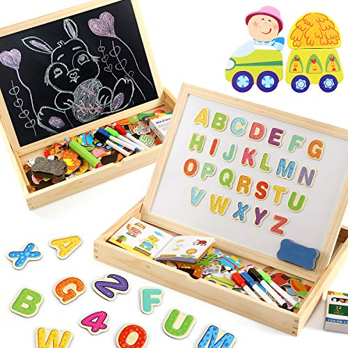 Lewo Wooden Large Educational Toys Magnetic Letters Numbers Animals Learning Puzzle Games Drawing Board with Writing Drawing Doodle Side Dry Erase Board for Kids (Puzzle Game) from Lewo