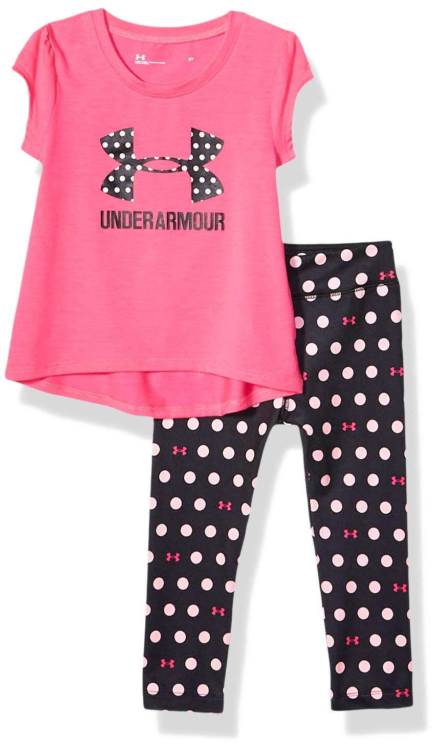 Under Armour Baby Girls' Toddler Valuable Player Tee Set, Pinkadelic F19, 2T by Under Armour