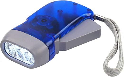 Plastic Torch Wind Up Hand Press Rechargeable Torch 3 LED Camp Flashlight Small~