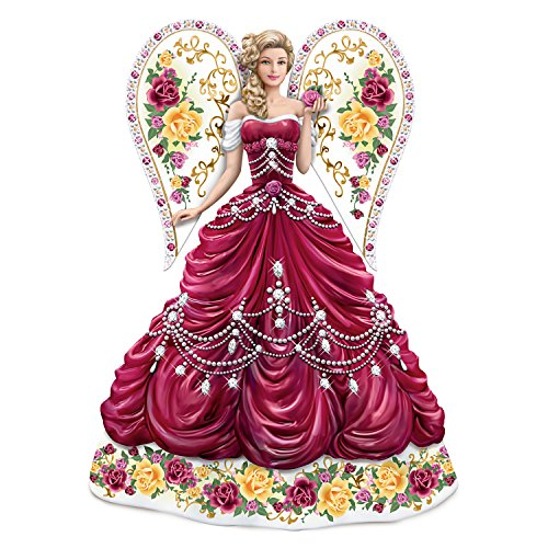Hand Painted Angel Figurine with Rose China Patterns and Swarovski Crystals by The Hamilton Collection
