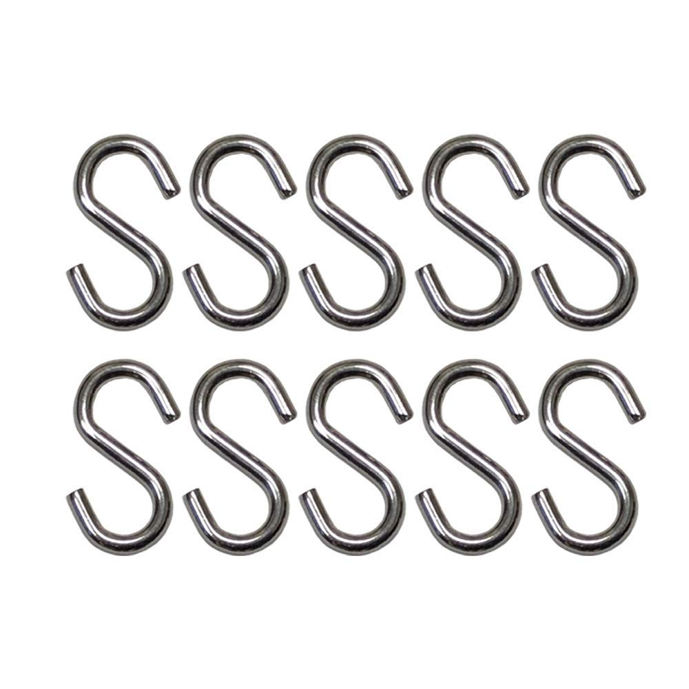S Hook - Marine Grade 316 Stainless Steel 1.56'' Long, 5/32'' Thick Metal Hook for Hanging and Utility Use (10)