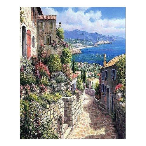 Beautiful Modern Art Watercolor Painting Italian town Canvas Print Wall Art 16