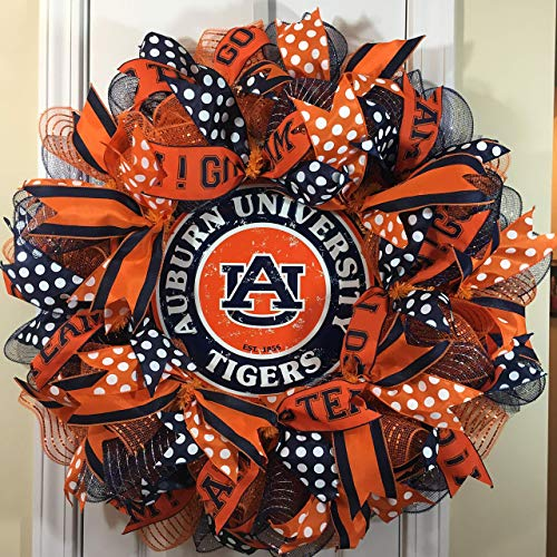 (Auburn Tigers Wreath for Front Door with Deco Mesh and Ribbon, 26 Inches)