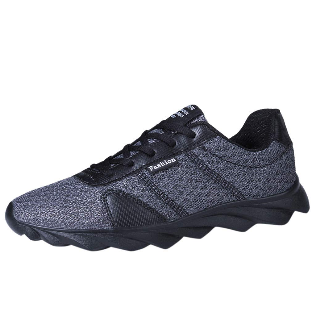 Men's Ultralight Running Shoes Fashion Mesh Flying Woven Breathable Lace-up Wear Resistant Comfort Sneakers by Dacawin-Men Sneakers