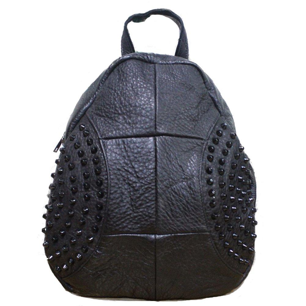 Womens Genuine Cowhide Leather Backpack Black Preppy Style Knapsack