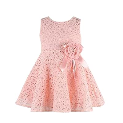 Shensee Girls Kids Lace Floral One Piece Dress Child Princess Party Dress