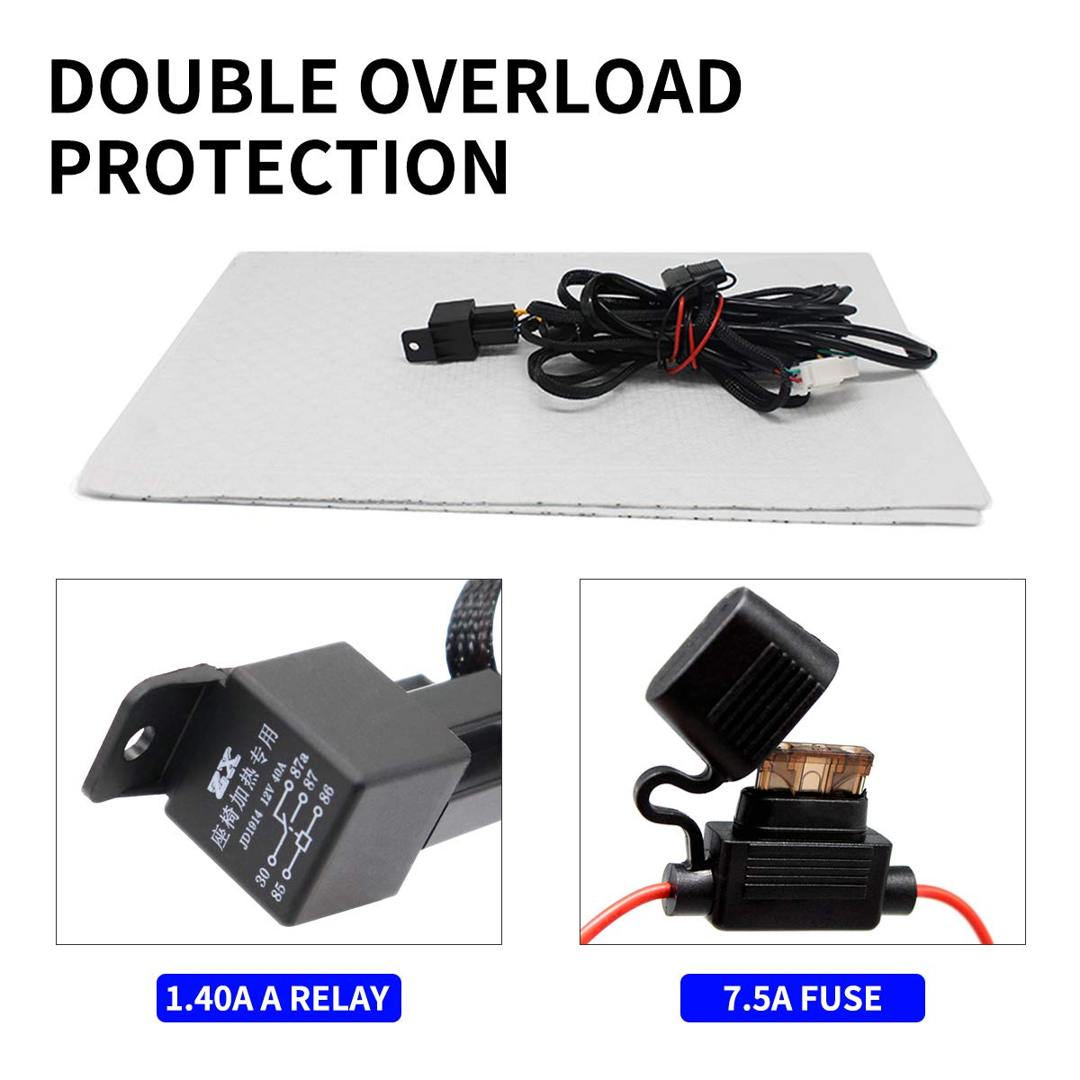 jamgoer Universal Seat Heater Kit Switch Kit 12V Carbon Fiber with Hi//Lo Temperature Switch Car Heated seat Heating pad