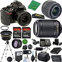 Nikon D5200 International Version - No Warranty, 18-55mm f/3.5-5.6 VR, Nikon 55-200mm f4-5.6G VR, 2pcs 16GB ZeeTech Memory, Case, Wide Angle, Telephoto, Battery, Charger