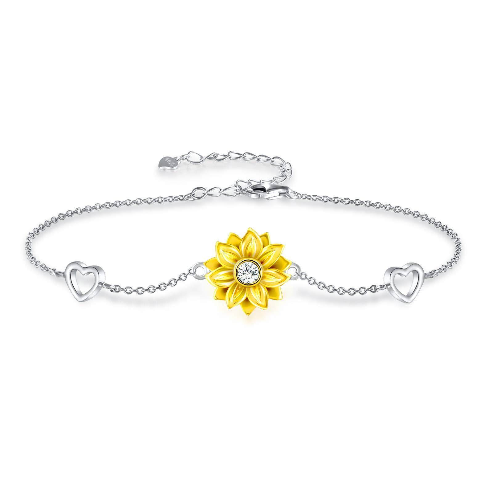 925 Sterling Silver Bracelet for Women Adjustable Sunflower Heart Charm Bracelet Christmas