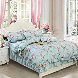 FADFAY Shabby Blue Floral Bedding Set,Vintage Floral Print Bedding Set,Elegant French Country Style Teal Cotton Duvet Cover Set with Ruffle 4 Pcs Queen Size