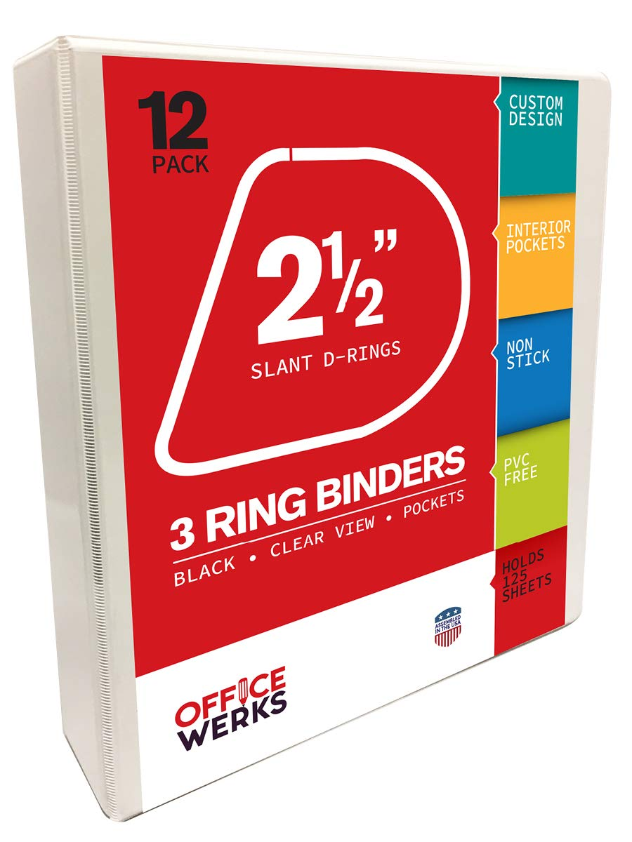 3 Ring Binders, 2.5 Inch Slant D-Rings, White, 12 Pack, Clear View, Pockets (3.2'' Spine) by Ring Binder Depot