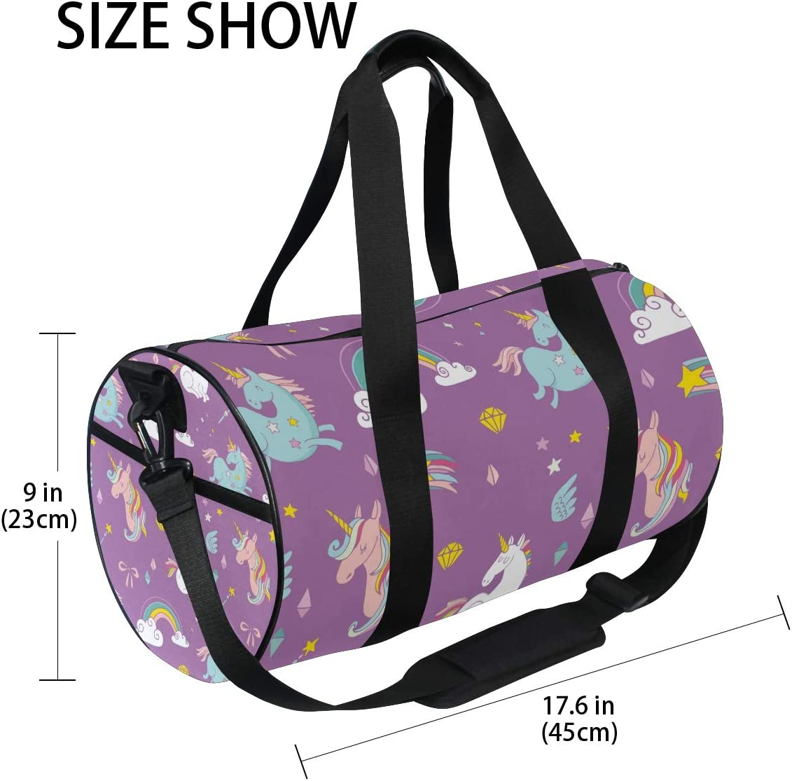 MALPLENA Magic Unicorns Drum gym duffel bag women Travel Bag