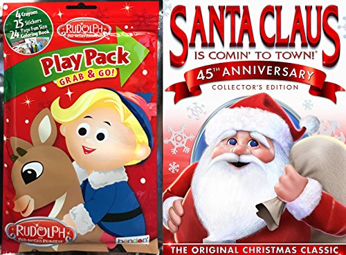 (Santa Claus is Coming to Town (45th Anniversary) Rudolph The Red Nosed Reindeer Coloring Book Stickers Play Pack Animated DVD Christmas Classic Holiday Special)
