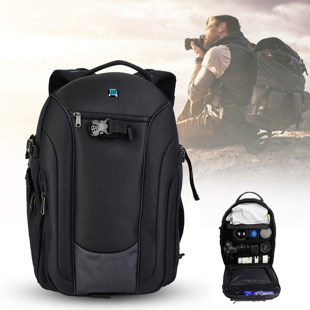 Mugast Camera Storage Backpack,Nylon Waterproof Tear Resistance Backpack with Large Capacity,3 Detachable Partitions for Photography Lovers for Outdoor Use