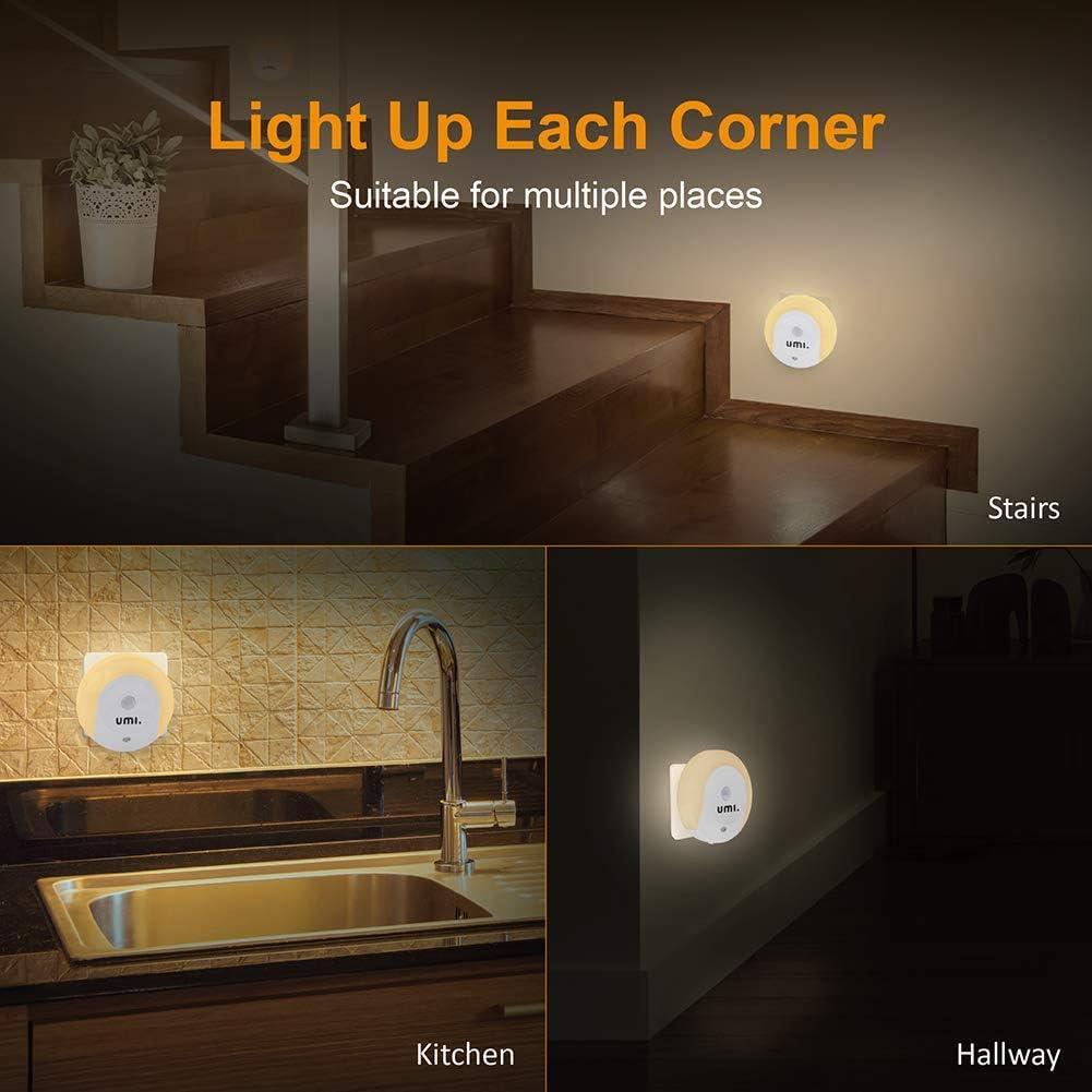 insgesamt 2,1/A Ausgangsstrom 6 St/ück Dual-USB by  9/lm Eckiges LED-Nachtlicht f/ür die Steckdose mit D/ämmerungssensor und zwei USB-Ladebuchsen Umi