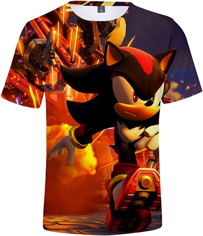 PZJ 3D Sonic The Hedgehog Printed T-Shirt Cartoon Graphic Short Sleeve Shirt for Men and Boys