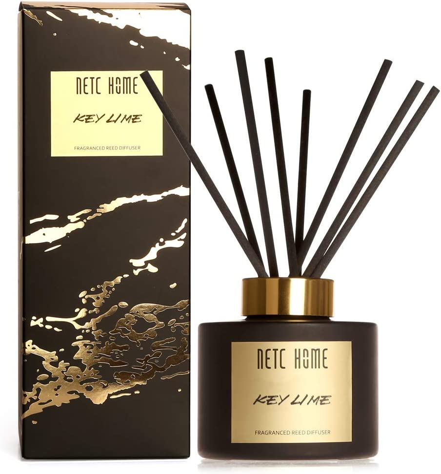 NETC HOME Fragrance Reed Diffuser, Key Lime Essential Oil Set with Rattan Reeds, 135 Milliliter, 4.6 fl oz, 1NH0102